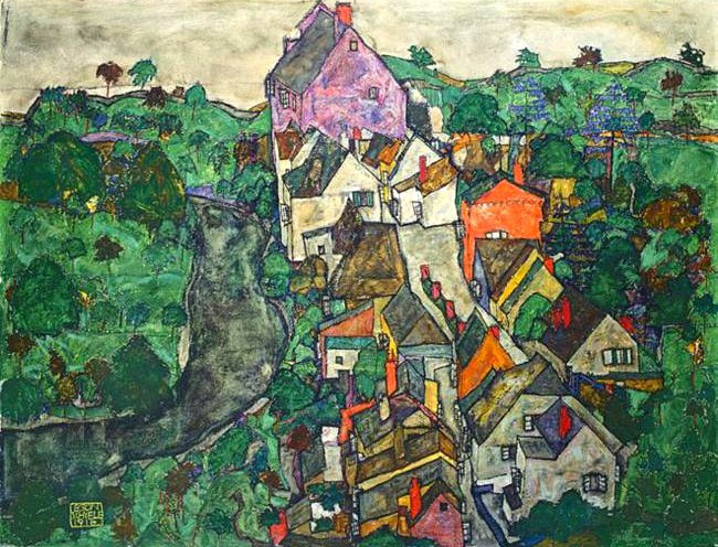 Schieler, Egon (1890-1918) - 1916 Krumau Landscape: Town and River (Sotheby's London, 2003) (by RasMarley)