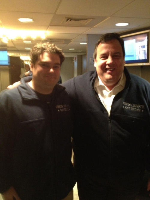 govchristie:  What a great night. Matching fleeces!  Chris Christie was on SNL tonight.