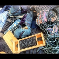 Indigo loot this AM. Took me 3 hours to find that flea market, outskirts of Tokyo. 40's kendo gloves, 20's indigo homespun fabrics, late Meiji era horse harness, 70's tobacco/pipe pouch… and a lot of inspiration. This was the place I spotted EP ;-)
