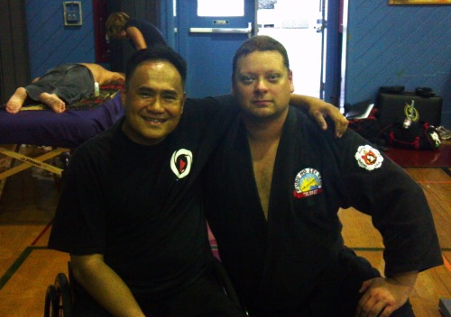 "GM/Guro Carlito Bonjoc & I at the 2012 KILOHANA KUFFERATH MASTERS SEMINAR today. Met & trained with some very top notch & amazing people. Guro Bonjoc saw Me on the way into My Hotel room while getting out of His car & says ""Good Evening Sir & Congratulations"" (I received Nidan rank recognitions by the Kilohana Martial Arts association this evening) It seems trivial to many, but it never ceases to amaze Me, the genuine kindness & humility of some of the most talented & deadly people on the planet. Its a constant reminder & lesson on how a true Warrior always continues too develop character & walks a path of kindness in their heart."