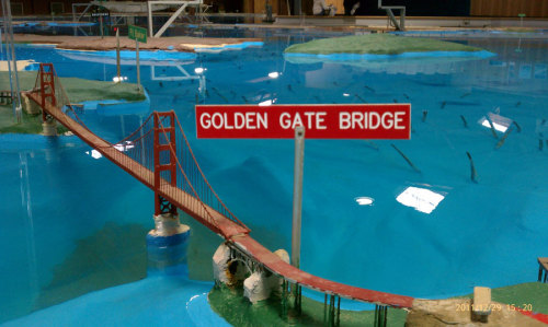 The Golden Gate Bridge's miniature counterpart at the refreshed San Francisco Bay Model in Sausalito, Marin. Photograph: Ranger Thomas Downs.