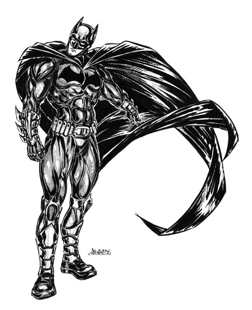 "Out of all the superheroes I've drawn, Batman took me the longest to complete so far because the figure he cuts is a mix of freedoms & restrictions. I can go a little crazy with the cape & anatomy but then I have to keep my brush in check when I go into strokes & shades. I had to constantly remind myself that he's supposed to be a dark, brooding character. Batman was created by Bob Kane & Bill Finger. The Batman first appeared in Detective Comics in May 1939. He is also known as ""The Caped Crusader"" & ""The Dark Knight"", among others. Batman's character is further strengthened by the most authentic array of super-villains namely: Joker, Catwoman, Penguin, Riddler, Two-Face, Poison Ivy, Mr. Freeze & many others."