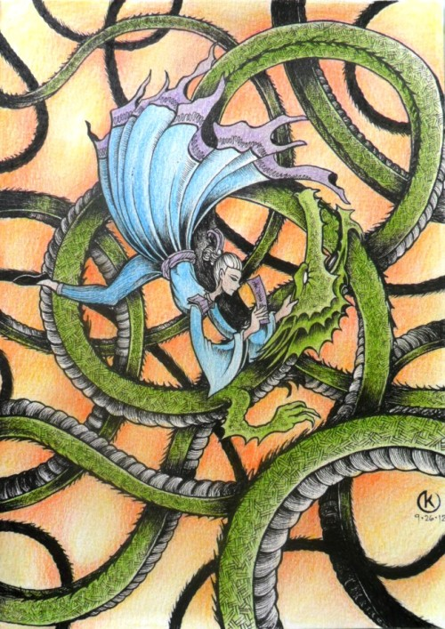 "DANCE WITH A DRAGON (ink and colored pencils on paper) Few more stretch and the year will be ending. Just like the few remaining pages of my fantasy sketchbook. This one is called ""Dance With A Dragon"", my idea of how the the year of the dragon must end - full of action!"