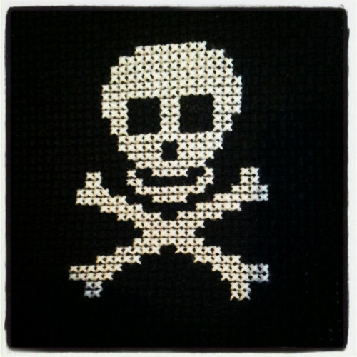 Badass cross stitch the gf made, she's so crafty :)