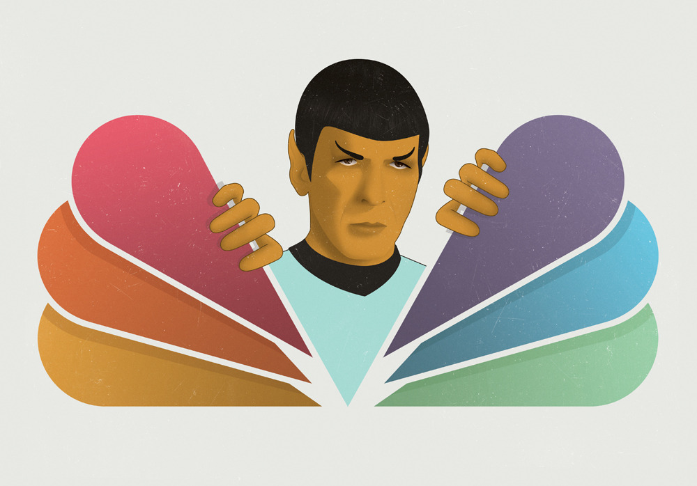 Elusive TV Shows // Wired US  Simple illustration that actually took several roughs to realise! The article was about American television shows trying their best to avoid cancellation from their networks. Star Trek and NBC being one notable example! Sneaky Spock!