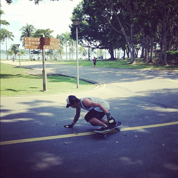 Erick showing off his longboard tricks. #longboard #singapore