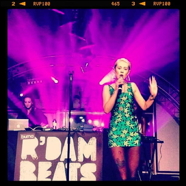 Me performing at Rotterdam beats festival last night. Weed print dress. Thanks for having me Rotterdam!!