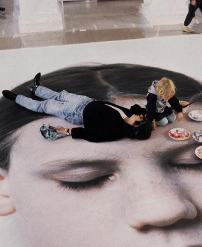 "Gottfried Helnwein working on the ""Head of a Child,"" 1991."