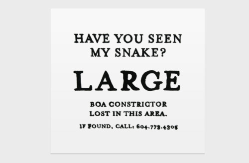 As you do.  visualgraphic:  Have you seen my snake?