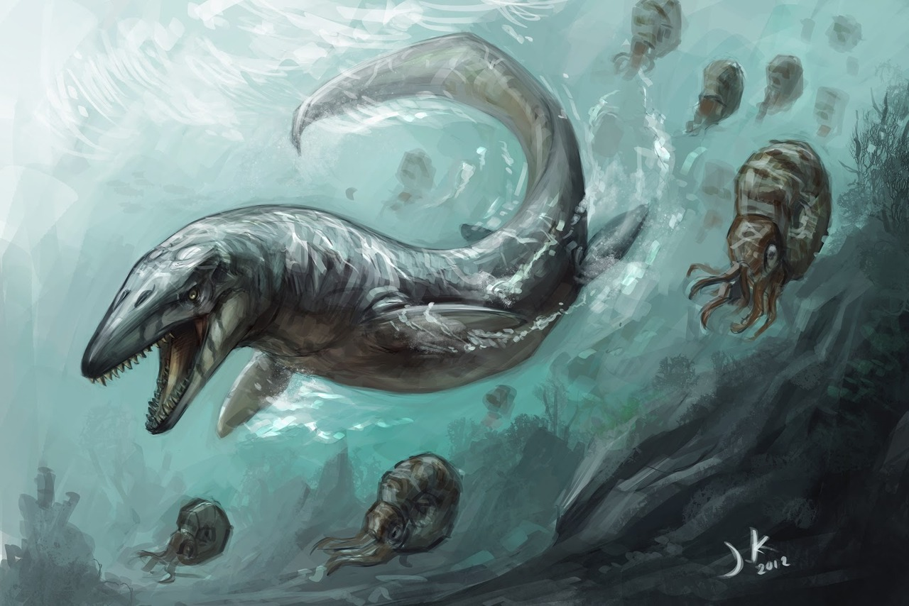 "Dinosaur Prehistoric Reptile of the Day: ""Mosasaur 2"" by Jonathan Kuo. NOTE THAT THIS IS NOT A DINOSAUR. Remember, I said back in the introduction that some non-dinosaur art might creep into this series, and this here's the first one. The Mosasaurs were aquatic reptiles that lived contemporaneously with dinosaurs, but were not dinosaurs. They are, however, still freaking badass."