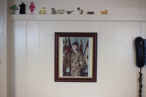 Photograph of Private Thomas Wroe, killed in Helmand Province, Afghanistan in a 'green on blue' attack on 15th September 2012. The picture hangs in the local cafe of his hometown Meltham, West Yorks.
