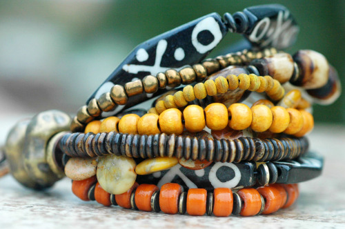 Madagascar Bracelet: Exotic Tribal Brown Bone, Amber, Ivory and Bronze Mixed Media Bracelet