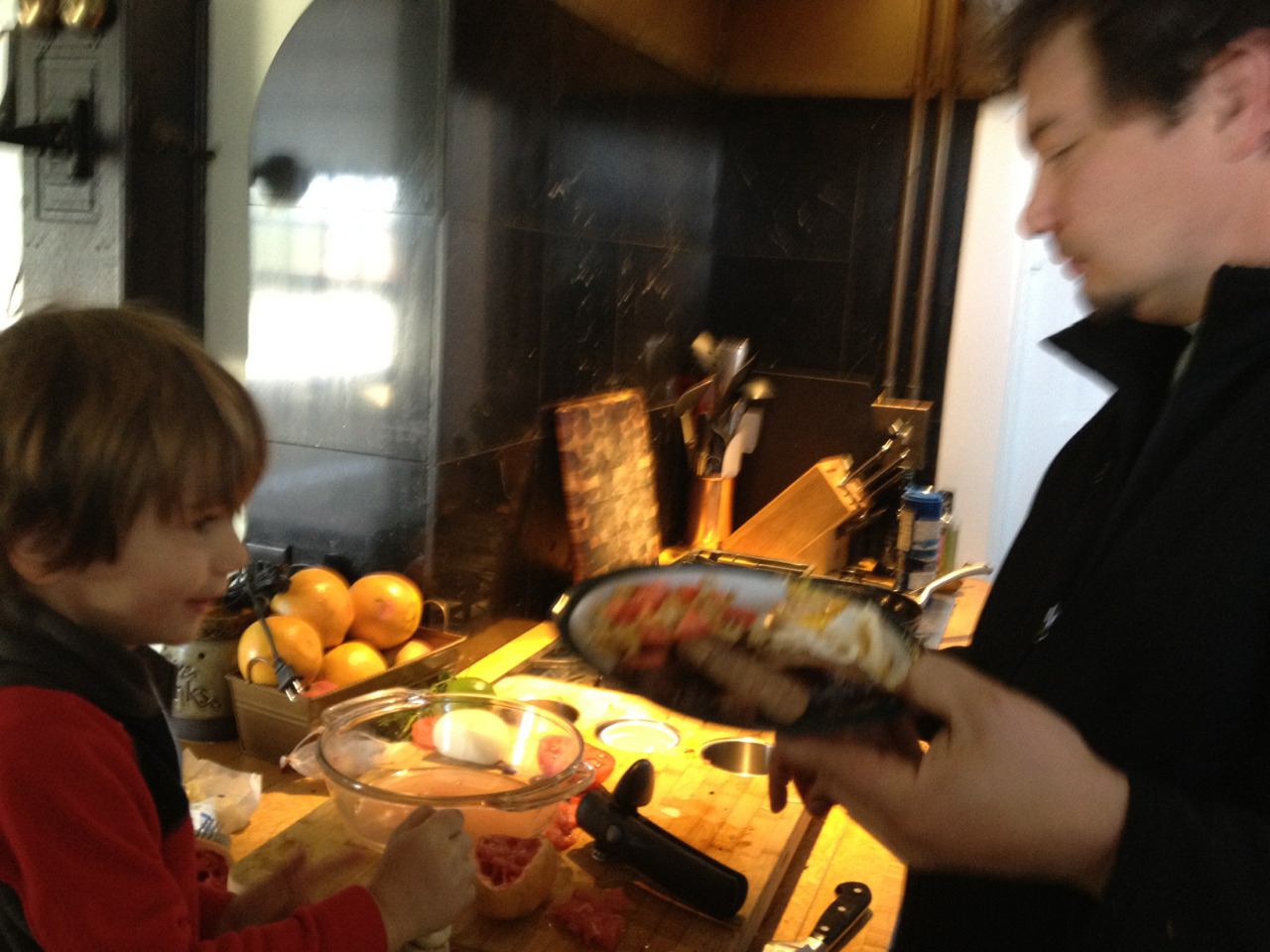 Sunday morning cooking breakfast at our own stove.  Love these mornings. Our family is very blessed. We get to spend such great times together. It's simple, but, this morning is one of those times.