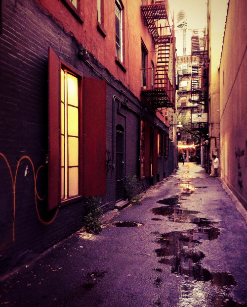 "New York City alley. Lower East Side.  When I was younger, I thought that New York City was teeming with alleys and narrow streets fueled by an over-active imagination and a predilection for film noir cityscapes. I wanted to believe that New York City harbored the best and brightest of in-between places and worn out spaces. The truth is that while New York City does have alleys, they are a pretty rare sight. Perhaps that is why I am so drawn to the ones that do exist.     —-  View this photo larger and on black on my Google Plus page  —-  Buy ""New York Alley - Lower East Side"" Prints here, email me, or ask for help."