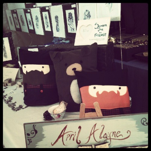 Slumber Jack and friends being adopted today! #Renegade #craftfair #pillow #plush #holiday #shopping #snuggle #lumberjack #beard #bear #Brooklyn #newyork