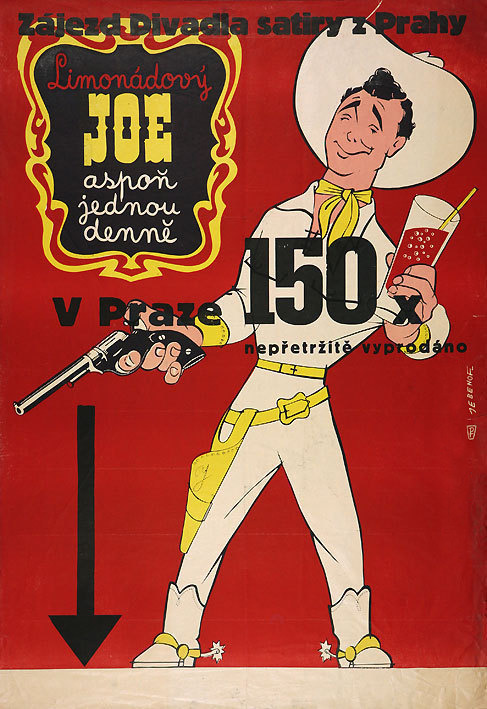 1950 poster for the Czech stage production Limonodovy Joe, which served as the basis for the film Lemonade Joe (1964).