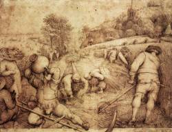 drawpaintprint:  Pieter Bruegel the Elder (Flemish, c. 1525-1569), Summer, 1568. Pen and Indian ink, 220 x 286 mm. Kunsthalle, Hamburg.