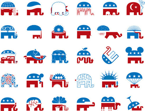 GOP Logo spoofs (w/ Sockwell), by Thomas Fuchs.