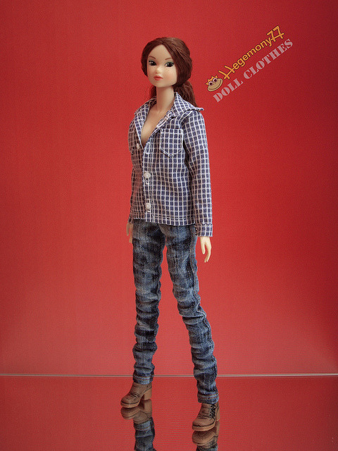 Momoko doll in plaid shirt with real working buttonholes and worn washed denim jeans pants on Flickr.Doll clothes and photo made by Hegemony77