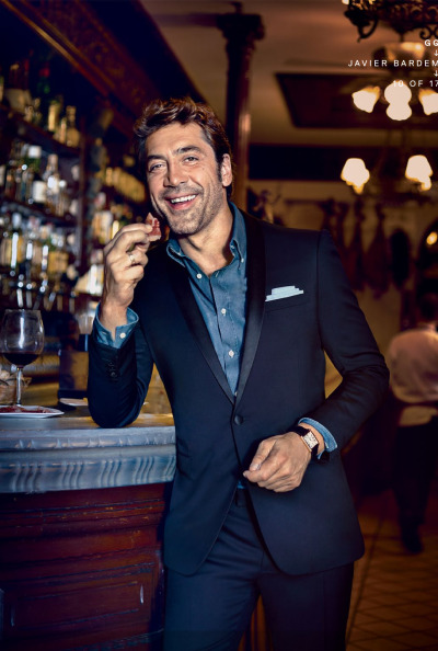 educoelho:  Javier Bardem GQ   He was so creepy in Skyfall that I'm happy to see this photo of him.