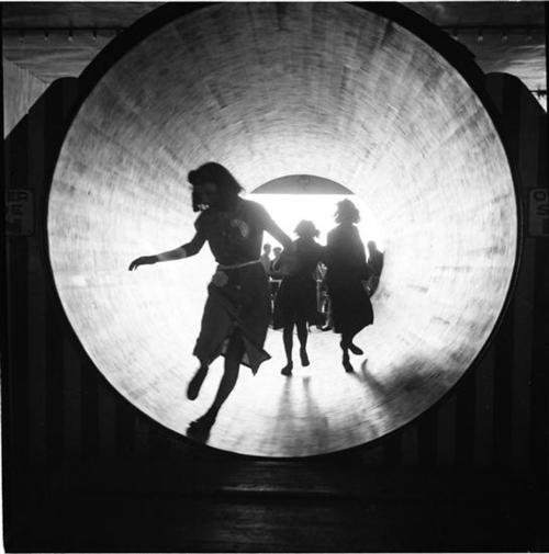 "lamelancoly:  Andrew Herman- The Barrel ""Coney Island"" {series for the Federal Art Project. The Steeplechase-V}, 1939"
