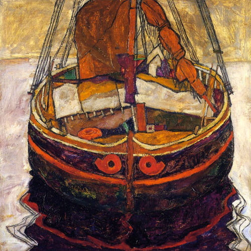 worldpaintings:  Egon Schiele Trieste Fishing Boat, 1912, oil on canvas, 75 x 75 cm, private collection.