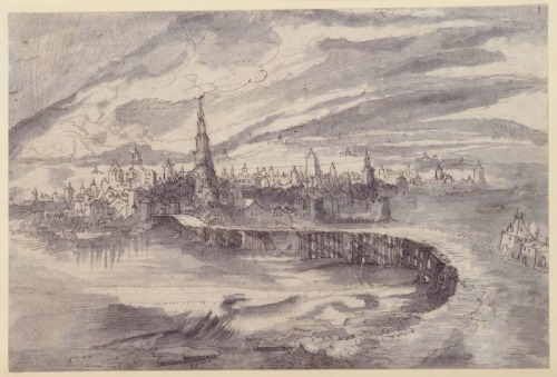 booksnbuildings:  City with a large bridge, Wolfgang Huber 1542 +