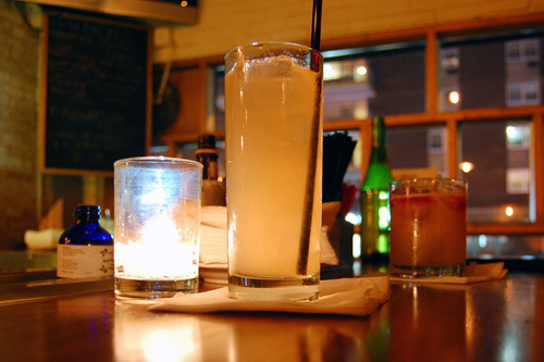 "The ""Bone Dry"" at Evelyn Drinkery is a spiked house-made soda with acid phosphate added for tartness, like they used to do back in the days of soda fountains. Includes Vinho Verde, blanco tequila, lime, agave, cucumber, pineapple, radish, and jicama. Full review"