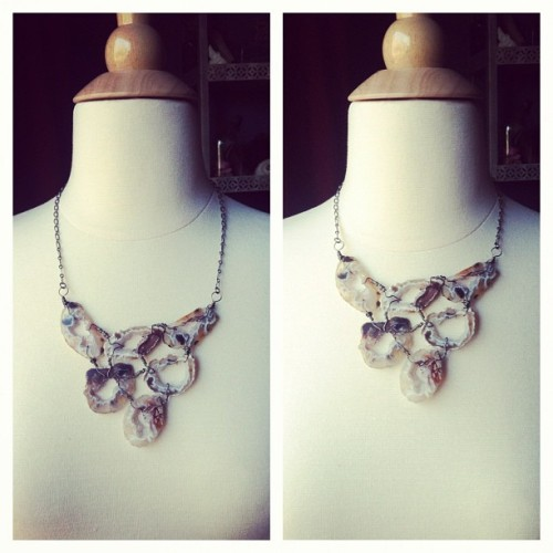 Adjustable wire wrapped geode bib necklace. Available in my etsy shop now! #fawneyfortune #etsy #jewelry #necklace #geode #druzy #crystals #metaphysical #wirewrapped #silver #gifts #forsale #shopping #handmade  (at www.FawneyFortune.etsy.com)