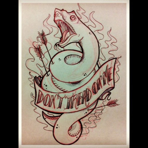 🐍Hopefully I'll get to tattoo this design soon. Super stoked! #sketch #drawing #art #tattoodesign #tattoo #snake #flames #arrow #donttreadonme #myart