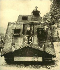 "georgy-konstantinovich-zhukov:  gleefulhistoriography:  ironeurope:  A7V  It's Beautiful.   Is that captured? The guy on the side looks British.  The first tank captured from the Germans, an A7V, with the name ""Elfriede"". It was salvaged by the French at Saleux, near Villers-Bretonneux, and is en route to Paris. With others, it was used by the enemy in their early morning attack of 24 April 1918, on the hard-strained British Divisions before Villers-Bretonneux and Cachy, when the Germans took the town in a wide-fronted advance of 2,000 yards. The reply at night by the Australian 13th and 15th Brigades won back the entire position by a brilliant maneouvre and hard fighting. ""Elfriede"" was displayed at Place de la Concorde in Paris in late 1918."