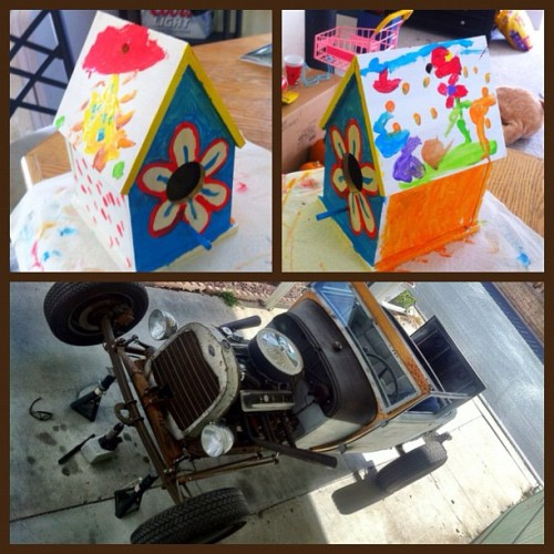 My day today. Of birdhouses and rat rods.———————————— ———————————— ———————————- ———- #ford #modela #model_a #hotrod #ratrod #car #chevy #project #rust #rusty #patina #metal #iphonesia #iphoneonly #jj #jj_forum #iger #1928 #28 #classic #coupe #convertible #sport #igerssandiego #welding #welder #birdhouse