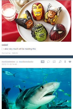 "The shark is like ""OMGZ, ARE THOSE MARVEL CUPCAKES?"""