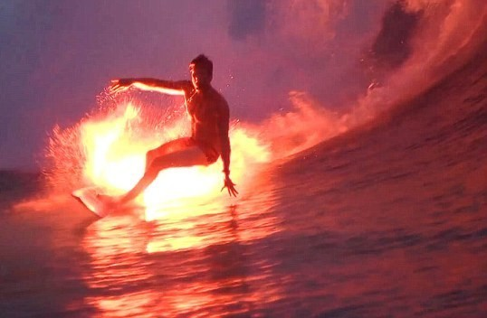 Spring Break Day 3/7: Surfing on Fire  (via Flare Surfing in Indonesia)