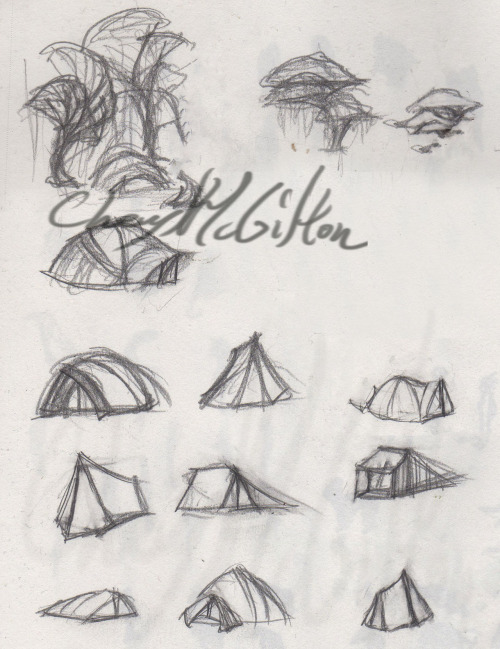 Tent design for a short animation concept. I've done wilderness camping so some are real dome and tarp tent designs that really work.