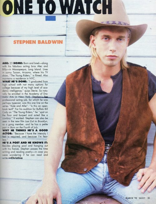 Sometimes I look back on my early-90s crush on Stephen Baldwin and feel embarrassed, but then I see pictures like these and it all makes sense.