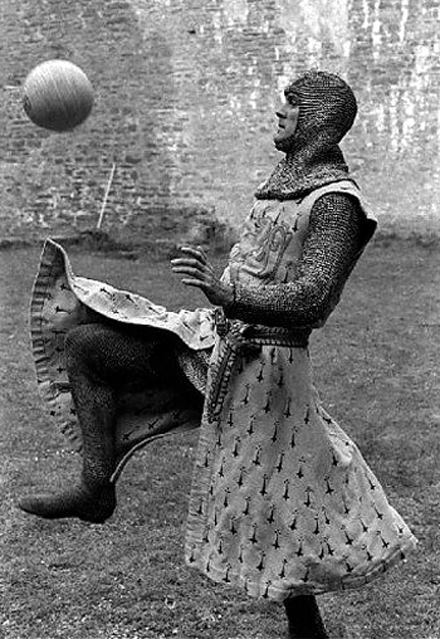 John Cleese on the set of 'Monty Python and the Holy Grail', 1975.