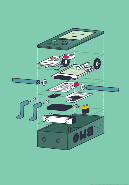 tinycartridge:  Exploded parts view of BMO. While others are busy tearing down the Wii U to see what's powering the system, artist Justin Edwards created this poster to give us a view of Adventure Time's sentient game console taken apart.  Shirt please.