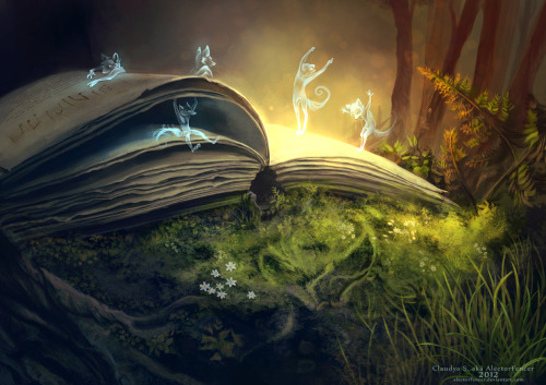 bibliolectors:  Magic and fantasy in the forest or in the book? / Magia y fantasia en el bosque o en el libro? (ilustración de Alector Fencer)