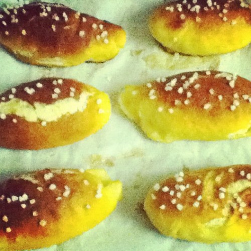 I made pretzel buns. I been thinking about them all week.