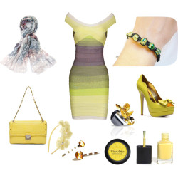 Fashion: Pretty Yellow por mariaplb con viva la divaOff shoulder dress, $175 / C Label high heel pumps / Versace yellow handbag / Bracelet / Ted Baker floral scarve, $125 / Flower hair accessory, $10 / Viva La Diva , $7.86 / Nail polish / Eos Ring Light Topaz Swarovski Crystal Silver Plated Yellow LeelaBijou / Yellow Topaz Bobby Pins Swarovski Crystal Hair Pins Princess Cut…