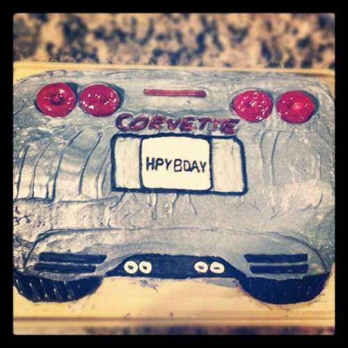 The girl & I gave Dad his favorite car for his birthday #corvette #cake (at Gray, ME)