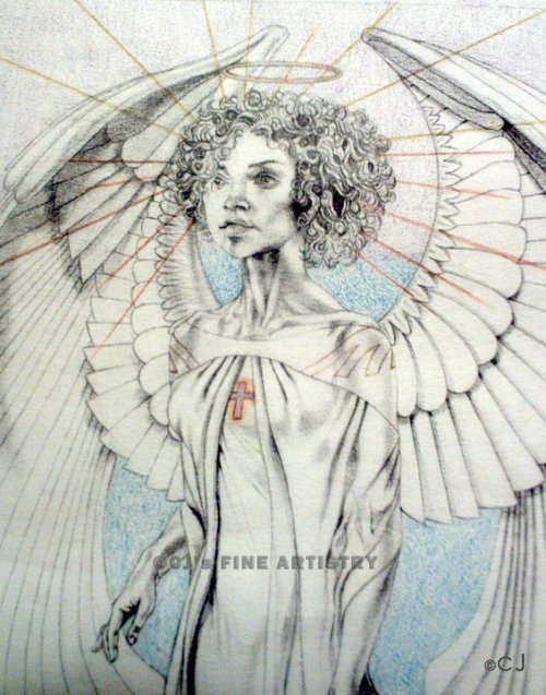 """The Angel"". Mixed media on paper. 2008. This is actually a second version of an angel I created for a client/patron to honor his deceased wife and child. I created this 2nd version for my church. The wings were very fun to render as they are not typical 'feather-y' wings. They are more abstract in nature."