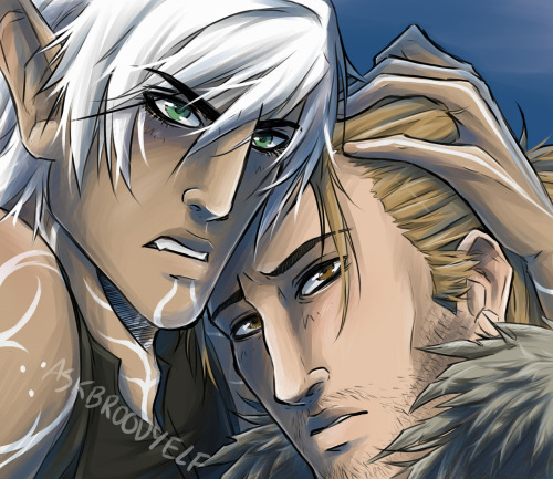 askbroodyelf:  Commission for ScarletCougar. Fenris and Anders ————————— Want to commission me? Go here.