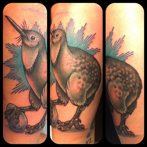 jessversus:  @bitchkittyrva 's new kiwi bird! So stoked! #tattoo #tattoos #nofilter #RVA