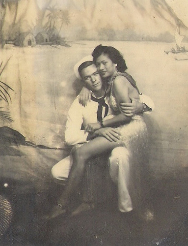 """ Sailor Posing With Dancing Girl ""  …  Vintage studio photo, 1940's"