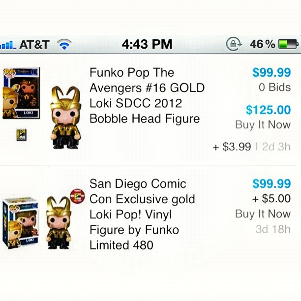 I have an extra San Diego 2012 Comic Con exclusive golden Loki up for grabs. Letting it go for $100 or OBO. Don't low ball me. It's a collectors item and I know what I have. It's great for any true marvel fans and there's only 480 of these guys! I looked it up on eBay and only 1-4 golden Lokis popped up. 😁❤✌ #goldenloki #loki #sdcc #sandiego #comiccon #exclusive #comics #instanerd #instageek #marvel #avengers
