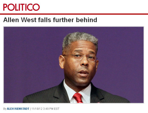 Politico - 'Allen West falls further behind'