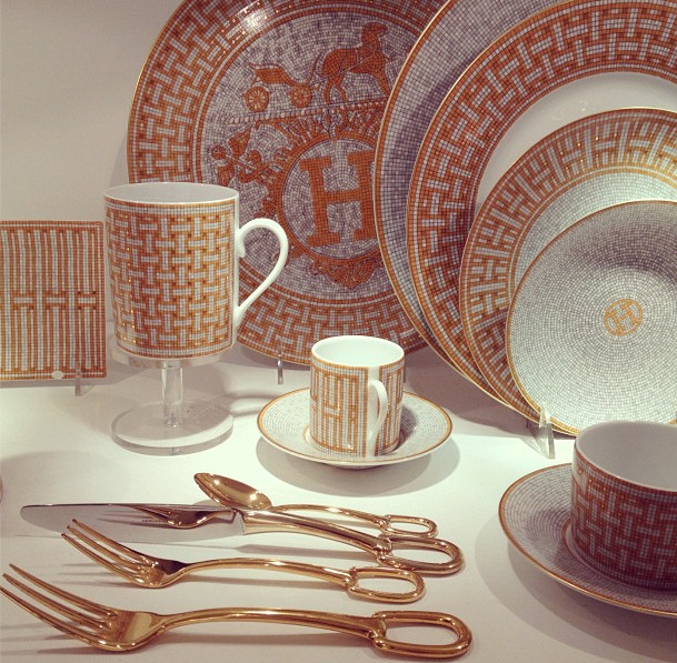 Insta-Peep-o-Gram: Fresh Hermes Plateware By Jauretsi The folks at Zio & Sons — a firm specializing in art direction, branding, interiors, and vintage pieces — has one of the most stylish of Instagrams. Above is a snapshot taken by one of their staff members, capturing this incredibly gorgeous set of Hermes kitchen pieces we're now dying for. We discovered a few Hermes plates floating around on eBay that we highly recommend giving as a fashionable holiday gift.  (Photo: Courtesy of Zio & Sons)