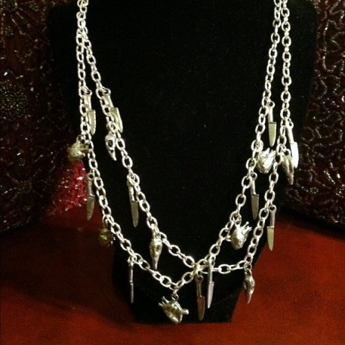 Listing now: Knives, Crow Skulls and Human Hearts double layer necklace. Silver tone chain, very nice weight #crow #humanheart  #jewelry #knive